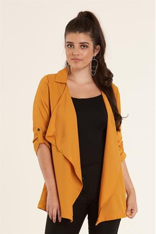 Open Front Duster Jacket MUSTARD