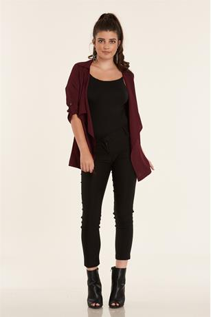 Open Front Duster Jacket WINE