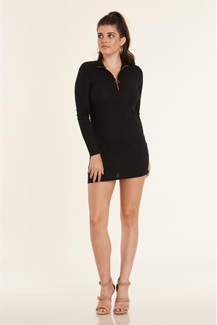 Ribbed Zip Up Dress BLACK