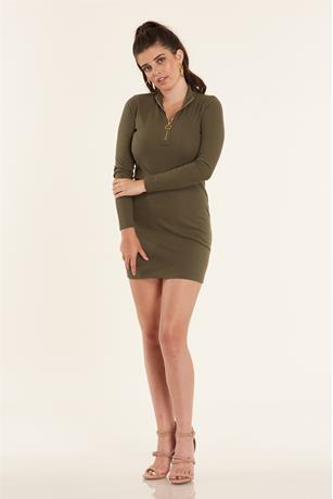 Ribbed Zip Up Dress OLIVE