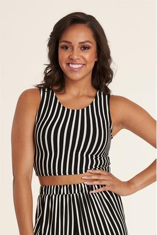 Striped Print Crop Top BLACK