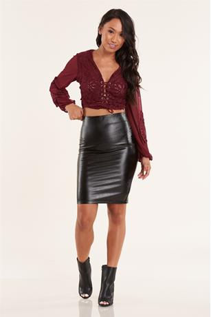 Crop Lace Up Top WINE