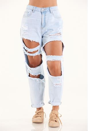 Cello Destroyed Boyfriend Jeans LIGHT WASH