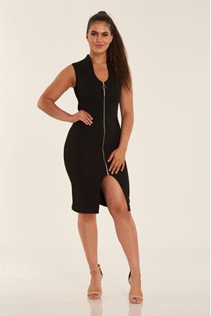 Zip Front Midi Dress BLACK