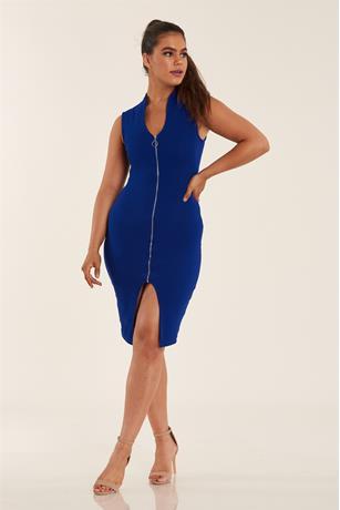 Zip Front Midi Dress BLUE