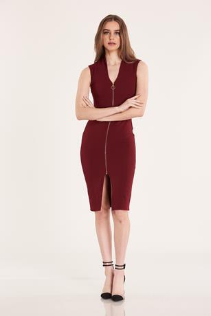 ZIP FRONT DRESS BURGANDY