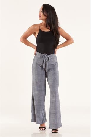 Printed Wide Leg Pants BLKWHT