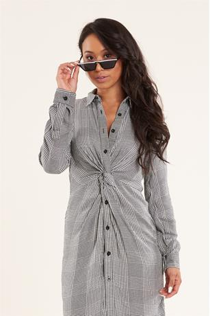 Twist Front Plaid Tunic