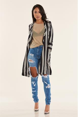 STRIPE LONG JACKET BLKWHT