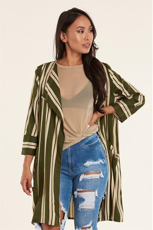 STRIPE LONG JACKET KHAKI