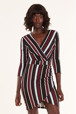 Stripe Wrap Dress BURGANDY