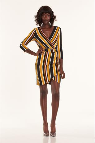 Stripe Wrap Dress MUSTARD