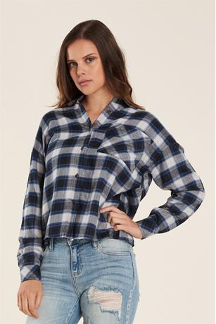 Button-Up Plaid Shirt BLACK