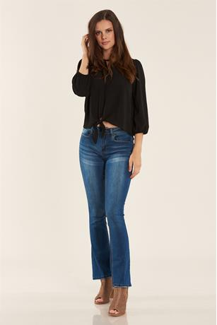 SOLID TIE FRONT BLOUSE BLACK