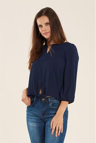 SOLID TIE FRONT BLOUSE NAVY