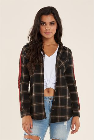 Striped Flannel Shirt OLIVE