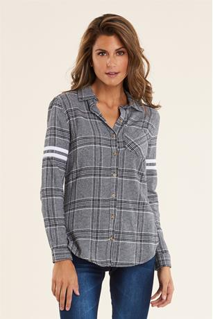 Striped Sleeve Flannel  Shirt BLKWHT