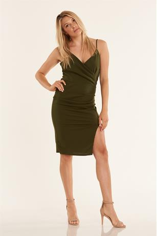 Solid Rouched Dress OLIVE