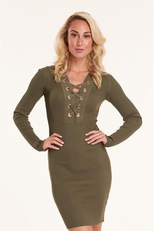 Ribbed Lace Up Dress OLIVE