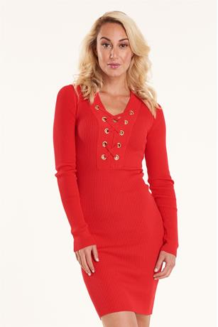 Ribbed Lace Up Dress RED