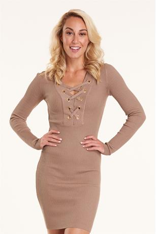 Ribbed Lace Up Dress TAUPE