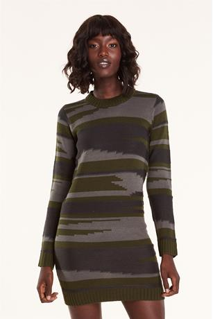 Camo Sweater Dress OLIVE