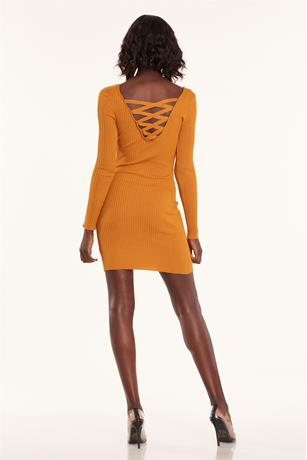 Caged Back Dress MUSTARD