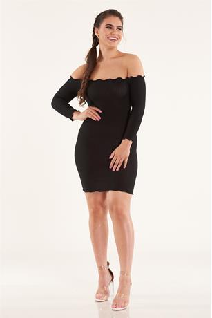Solid Lettuce Trim Dress BLACK