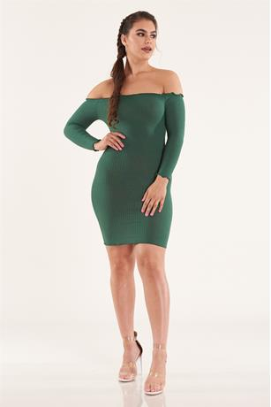 Solid Lettuce Trim Dress DARK GREEN