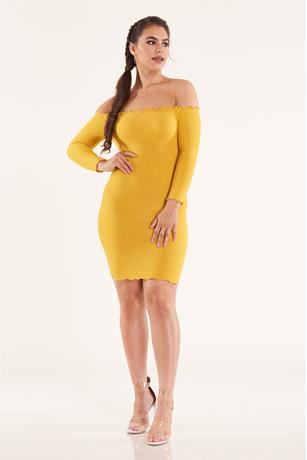 Solid Lettuce Trim Dress MUSTARD