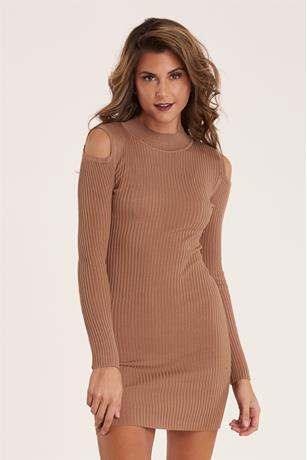 Open Shoulder Dress CAMEL