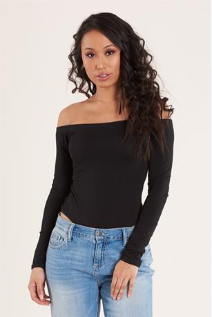 Solid Off Shoulder Bodysuit