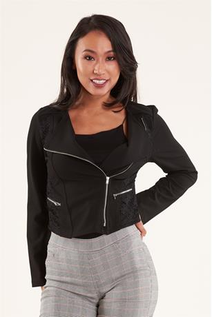 LACE INSERT JACKET BLACK