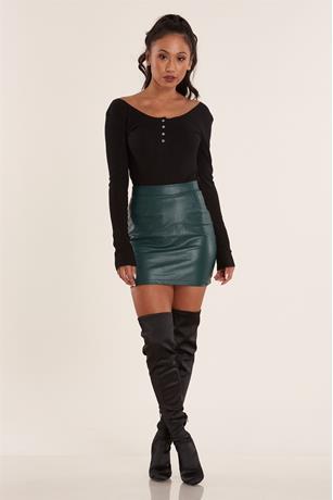 Faux Snake Skin Skirt GREEN