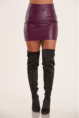 Faux Snake Skin Skirt PURPLE