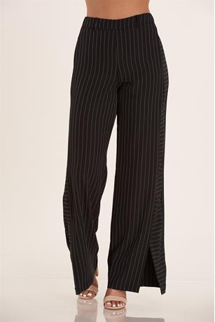 High Waist Stripe Pants BLACK