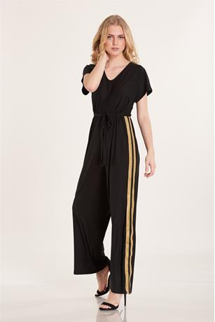 Stripe Contrast Jumpsuit BLACK