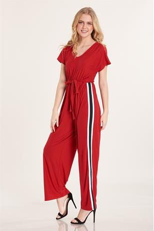 Stripe Contrast Jumpsuit RED