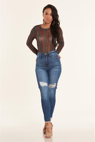 Stripe Mesh Bodysuit