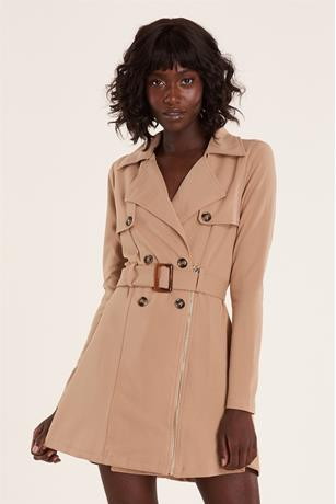 Zip Front Trench Coat TAUPE