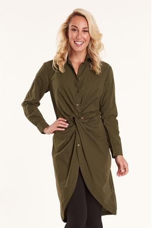 Knot Front Maxi Shirt OLIVE