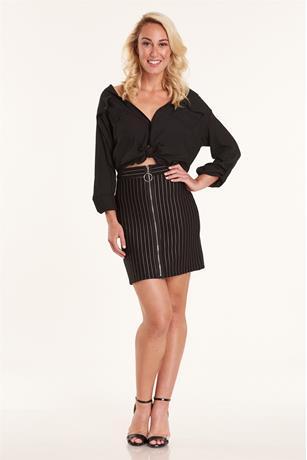 Stripe Zip Up Skirt BLKWHT