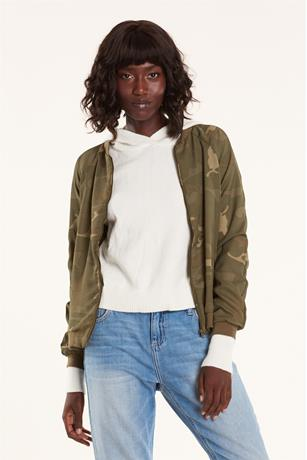 CAMO PRINT BOMBER JACKET DARK GREEN
