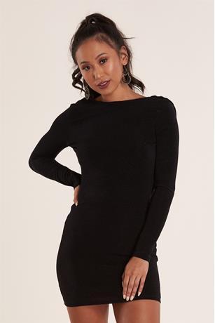 Drape Back Dress BLACK