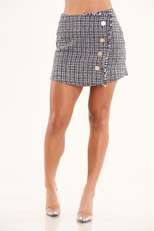 Button Up Tweed Skirt BLACK