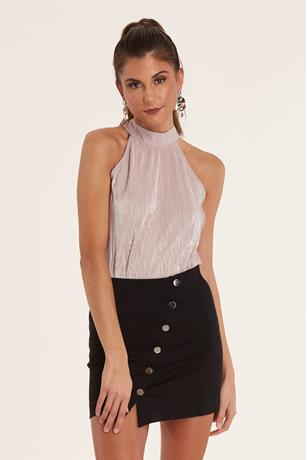 Halter Pleated Top CHAMPAIGNE