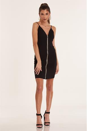 Zip Front Tank Dress BLACK