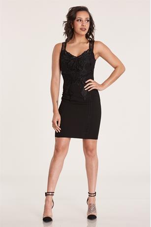 Lace Trim Midi Dress BLACK