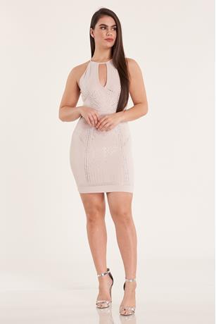 Studded Halter Dress NUDE
