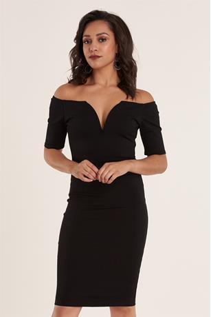 Off Shoulder Ponte Dress BLACK